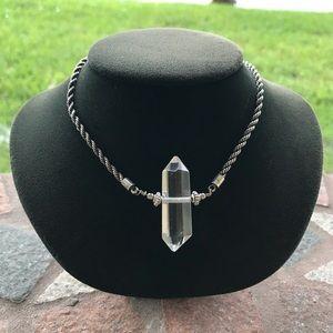 Genuine crystal quartz antique silver rope chain